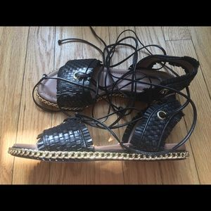 BCBG max azria woven leather lace up sandals